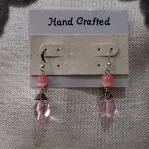 Hand Crafted Pink Dangle Earrings